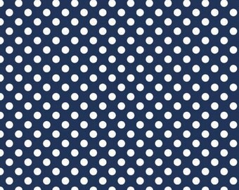 Navy Small Dots Fabric by Riley Blake Designs - 1 Yard - by the Yard - Navy and White - Navy Dots - C350-21