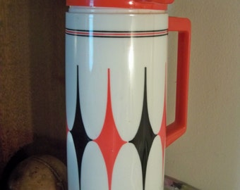 retro red and black and white vintage  aladdin thermos