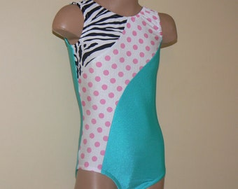 Gymnastics Dance Leotard Jade with Zebra and Polka Pots Insets. Toddlers Girls Gymnastics Leotard. Size 2T - GIRLS 10