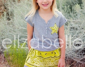 Lime Chartreuse Bandana Skirt Set Size 6 READY TO SHIP Western Star Applique Gray Shirt Sparkle Buttons Cowgirl Birthday Outfit Bandanna