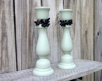 Taper Candle Holders, Green, Set of Two, Candle Sticks, Pair, Navy Pip Berries, Painted Wood, Home Decor, Primitive, Rustic Decor