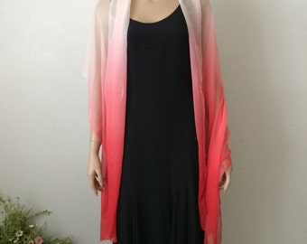 Ombre Shades of Moonlight Ivory to Sunset Red...Vintage Neck Scarf Reminiscent of Isadora Duncan