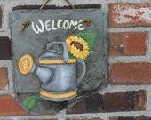Handpainted Welcome slate
