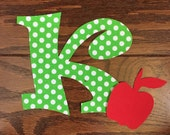 Back to School Monogram Initial Iron On Applique, You Choose Fabric