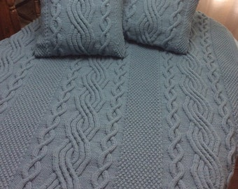 SUMMER SALE, Combo: Chunky Hand Knit Blanket and 2 Pillow Covers, Azure Blue