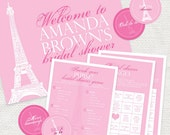 printable bridal shower kit tres chic paris eiffel tower party pack - instant download bingo games welcome sign party circles purse pink