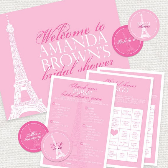 printable bridal shower games kit - paris eiffel tower party pack  - instant download bingo welcome sign party circles purse game pink