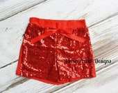 Sequin Shorts- Birthday Outfit- Girls Red Sequin Shorts- Toddler Shorts- Sequin shorts-Girls shorts-1st Birthday Outfit- Photo Shoot