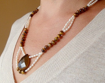 Tiger Eye and fresh water pearl necklace