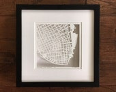 charleston, new orleans, or savannah hand cut map, 10x10