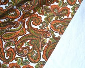 Vintage Fabric - Orange and Green Paisley - 35 x 34