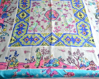 Vintage Silk Scarf - Turquoise and Pink Oriental - 1940's