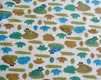 Vintage Fabric - Green and Blue Frogs - 44 x 52