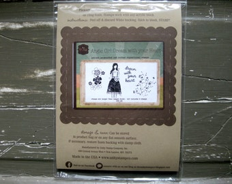 SUPPLY DESTASH - Unity Stamp - Angie Girl: Dream with your Heart - Rubber Stamp Set