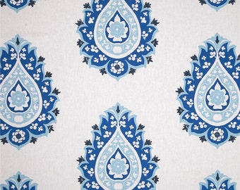 "Designer custom made Fabric shower curtain, Damask cobalt blue 72""  , 84"" , 90"", 96, 108"""
