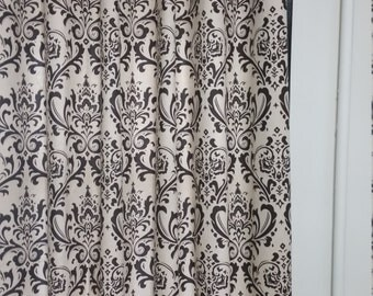 """TWO 50"""" WIDE curtain panels grommet top drapes traditions damask brown natural"""