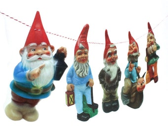 Vintage Garden Gnomes Garland - photo reproductions on felt
