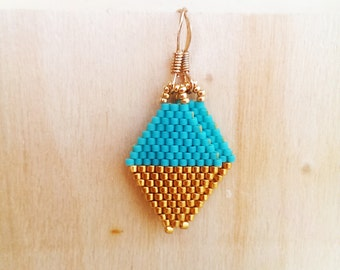 Gold or Silver / Turquoise Beaded mini Kite earrings