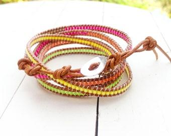 Leather Wrap Bracelet with Neon Miyuki delicas