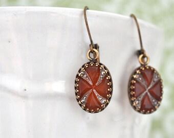 vintage jeweled, VINTAGE ART DECO, vintage carnelian silver color vintage west Germany oval jeweled earrings antiqued brass