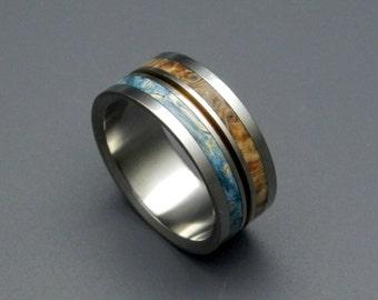Wooden Wedding Rings, titanium wedding rings, box elder, bronze, wood rings, men's ring, women's wedding rings - HEAVEN ON EARTH