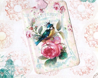 Tags, Roses & Blue Bird, Gift Tags, Bird Lover