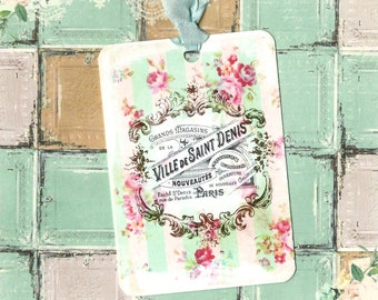 Gift Tags, French Tags, Roses, French Label, Vintage Style