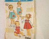 Vintage 1970's Simplicity Pattern 9128 Toddler's Dress or Jumper, Blouse and Overalls,  with transfer Size 1/2