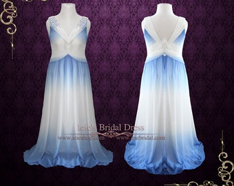 Grecian Sky Blue Chiffon Long Floor Length Evening Dress Prom Dress Formal Dress