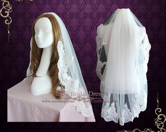 Fingertip Length Alencon Lace Wedding veil with Soft Tulle VG1057