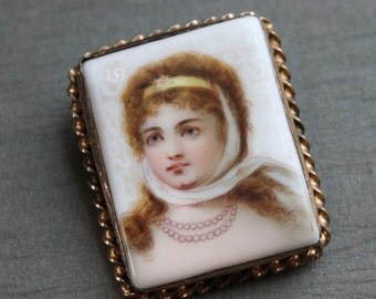 Antique Victorian Queen Louise of Prussia Hand Painted Portrait Brooch