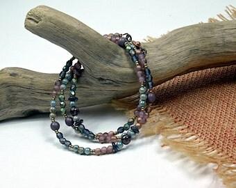 Boho Wrap..Lavender Plum, Glass Beaded, Wrap Bracelet, Beaded Necklace cbwsn113
