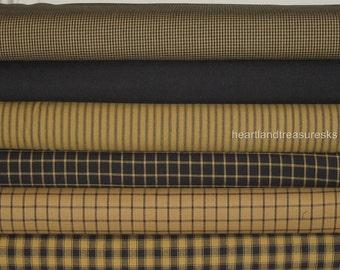 Dunroven House 6 Primitive Homespun Mustard & Black Fabric Fat Quarters