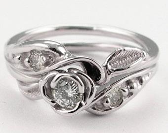 Tea Rose Wedding Set: 14K Gold & Diamond - Made To Order
