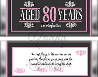 80th Birthday Party Favors Hershey's Candy Bar Wrappers Pink