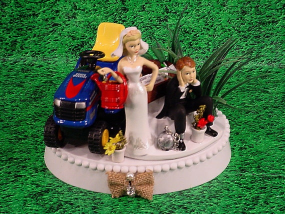 blue tractor wedding cake topper blue lawn tractor country rustic custom groom s wedding 12009