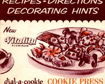 Dial a Cookie New Vitality Aluminum Cookie Press Recipes Direction Decorating Hints Vintage Kitchen Baking Equipment Manual Cooking Pamphlet