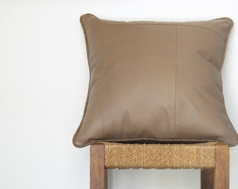 Leather Pillow in Sand  ...  Luxe Piped Sofa Cushion