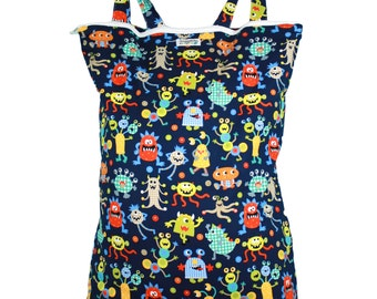 Wet Bag Hanging Diaper Pail Laundry Bag - Monster Mash - FAST SHIPPING