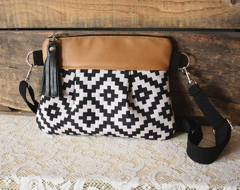 Aztec Wristlet / Pouch/ Clutch purse crossbody small handbag Leather -Made to Order-