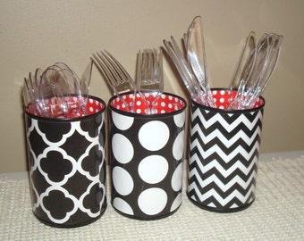 Black White Red Desk Accessories, Pencil Holder Desk Accessory, Polka Dots Chevron Pencil Cup, Desk Set, Makeup Brush Holder - 556