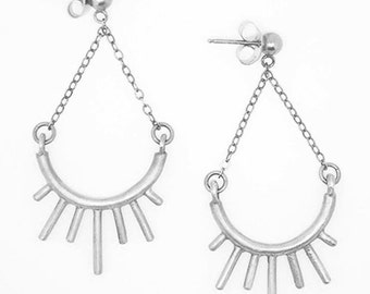 Chandelier earring- Post dangle earring- Sterling Silver- Sun burst dangle- Spiked modern chandelier earring