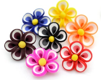 Fimo Flowers, 10 pcs, 20mm,  Polymer Clay Flowers, Floral beads, Fimo  Flower Beads -B98
