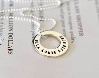Off Centre Washer Necklace, Petite Washer Necklace, Hand Stamped Washer Necklace, Personalized Mothers Necklace, Childrens Names Necklace
