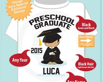 Personalized Preschool Graduate Shirt, Kindergarten Graduate Shirt, Child's Cap and Gown Shirt (05142015a)