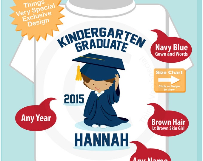 Kindergarten Graduate Shirt, Kindergarten Graduation Shirt, Personalized for your little girl with year and name (06092015b)