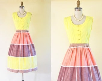 50s Dress - Vintage 1950s Dress - Yellow Cocoa Orange Colorblocked Cotton Full Skirt Sundress XS S - Ice Cream Shop