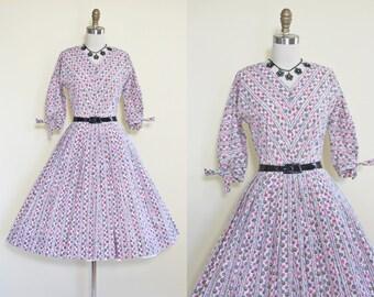 50s Dress - Vintage 1950s Dress - Pink Grey Black Atomic Polka Dot Girly Cotton Full Skirt Dress S M - Forty Winks