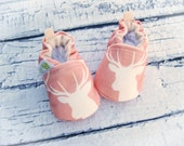 Organic Knits Vegan Deer in Coral  All Fabric Soft Sole Baby Shoes / Made to Order / Babies Shower Gift Girl