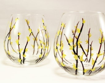 Hand painted Forsythia wine glasses, hand painted stemless wine glasses with forsythia flowers, set of 2 Ready to ship
